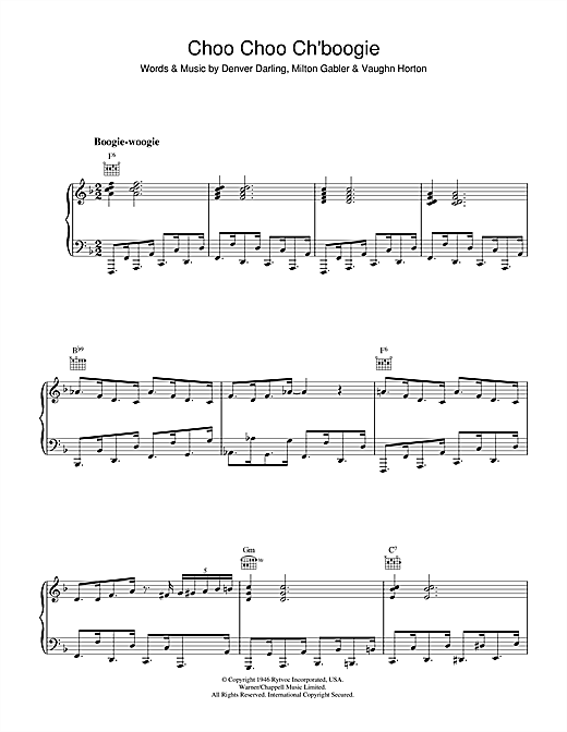 Choo Choo Ch'Boogie (Piano, Vocal & Guitar (Right-Hand Melody))