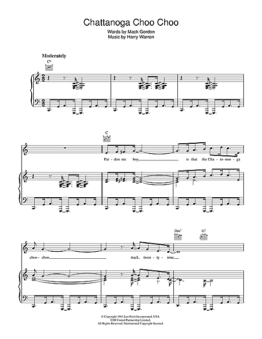 chattanooga choo choo sheet music by harry warren piano vocal guitar right hand melody. Black Bedroom Furniture Sets. Home Design Ideas