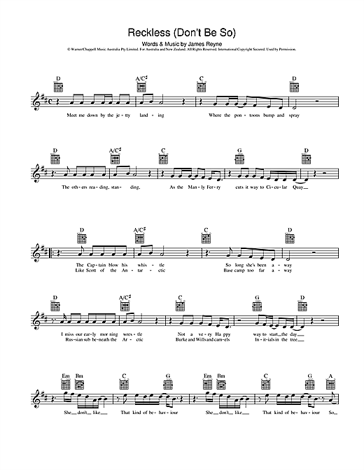 Reckless (Don't Be So) Sheet Music