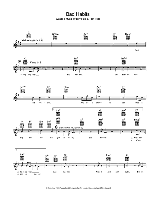 Bad Habits chords by Billy Field (Melody Line, Lyrics & Chords – 39161)