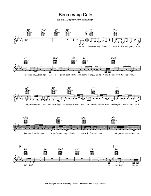 Boomerang Cafe Sheet Music