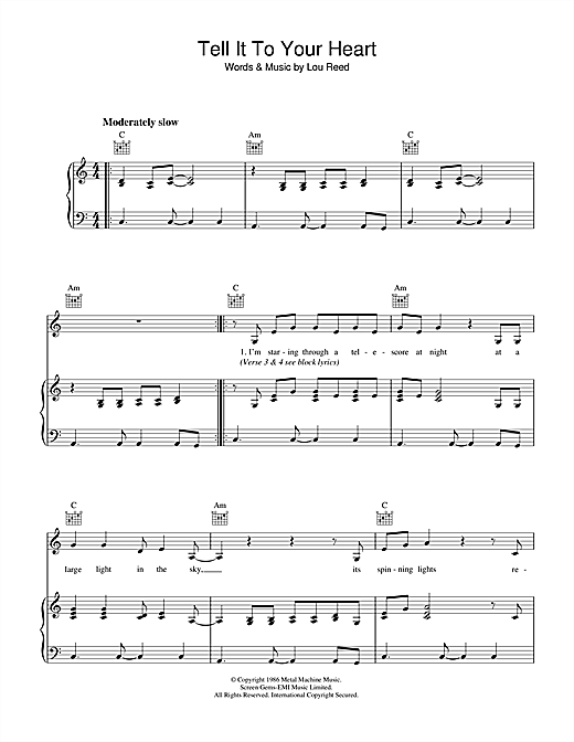 Tell It To Your Heart Sheet Music