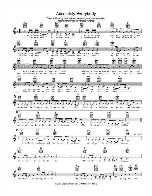 Absolutely Everybody Sheet Music