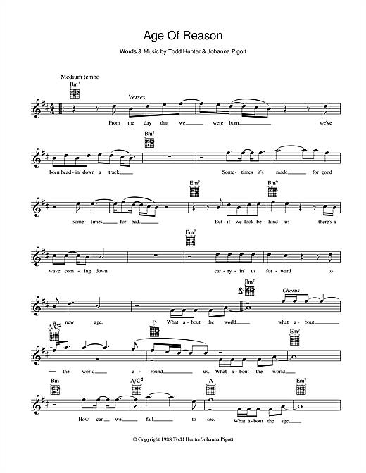 Age Of Reason Sheet Music