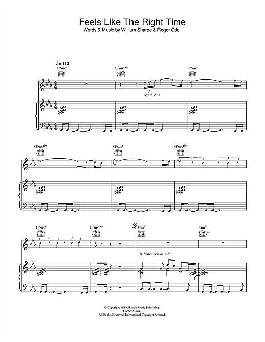 Partition piano Feels Like The Right Time de Shakatak - Piano Voix Guitare
