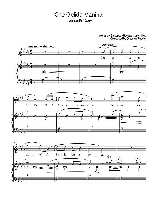 Che Gelida Manina (from La Boheme) Sheet Music