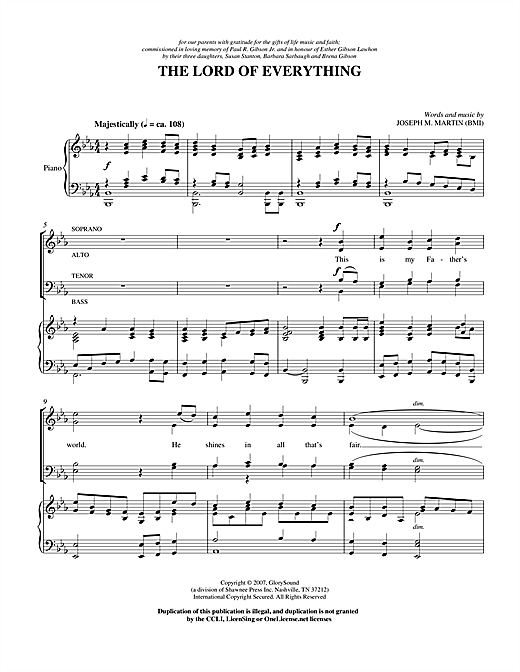 Partition chorale Lord Of Everything de Joseph M. Martin - SATB