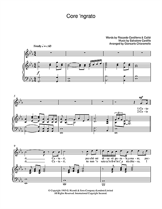 Core 'Ngrato Sheet Music
