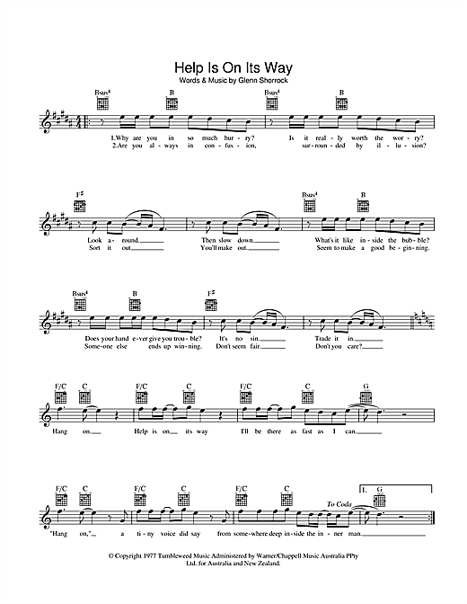Help Is On Its Way Sheet Music