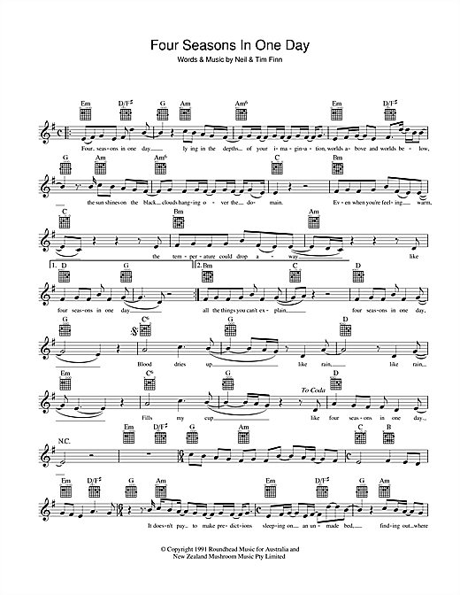 Four Seasons In One Day Sheet Music