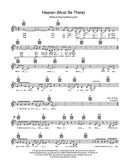 Heaven (Must Be There) Sheet Music