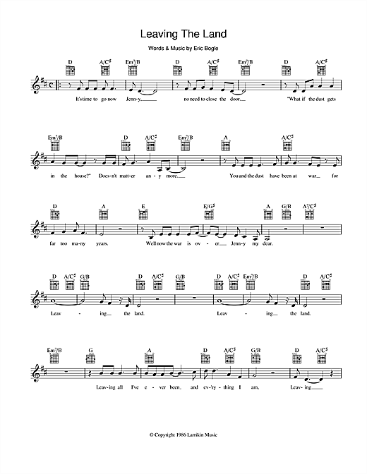 Leaving The Land Sheet Music