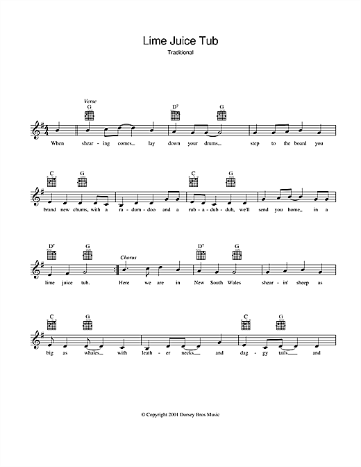 Lime Juice Tub Sheet Music