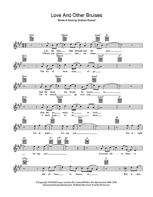 Love And Other Bruises Sheet Music