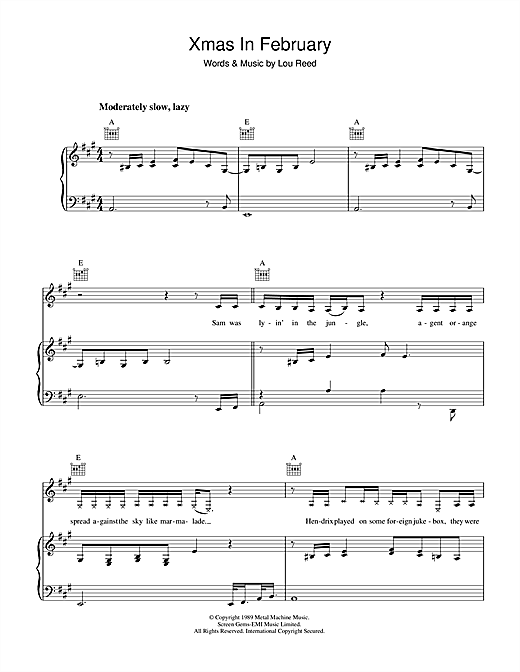 Xmas In February Sheet Music