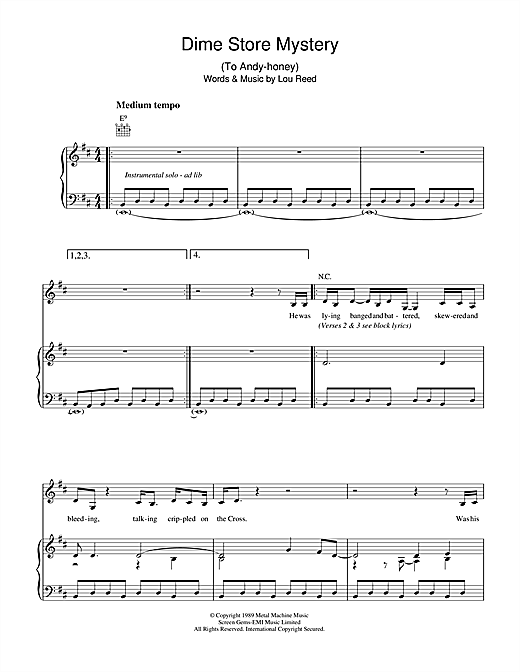 Dime Store Mystery Sheet Music