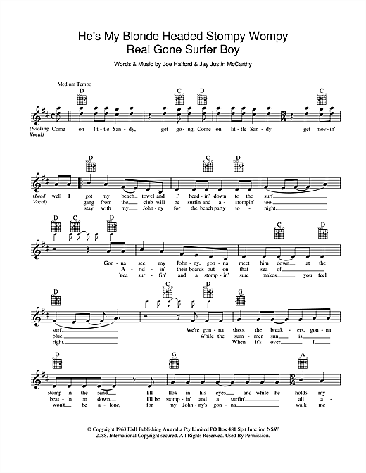 He's My Blonde Headed Stompy Wompy Real Gone Surfer Boy Sheet Music
