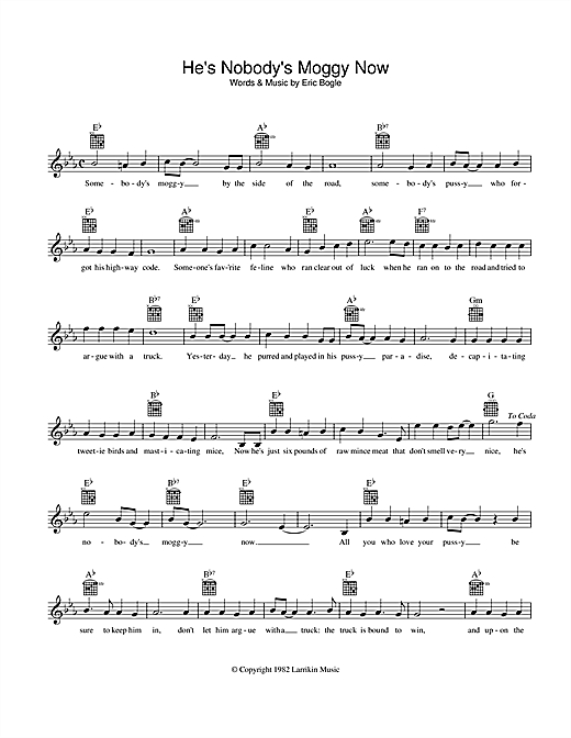He's Nobody's Moggy Now (Lead Sheet / Fake Book)