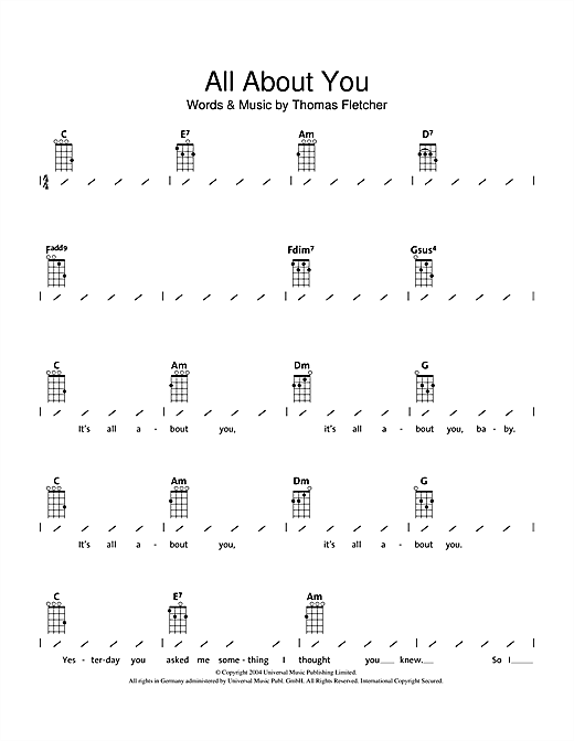 Tablature guitare All About You de McFly - Ukulele (strumming patterns)