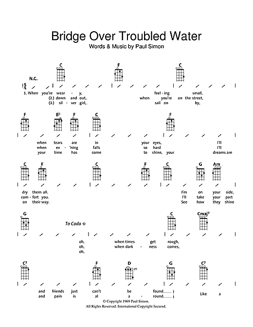 Tablature guitare Bridge Over Troubled Water de Simon & Garfunkel - Ukulele (strumming patterns)