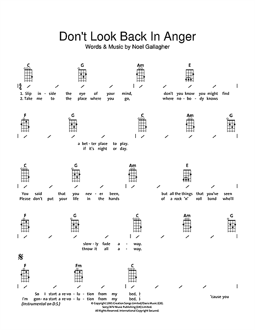 Tablature guitare Don't Look Back In Anger de Oasis - Ukulele (strumming patterns)
