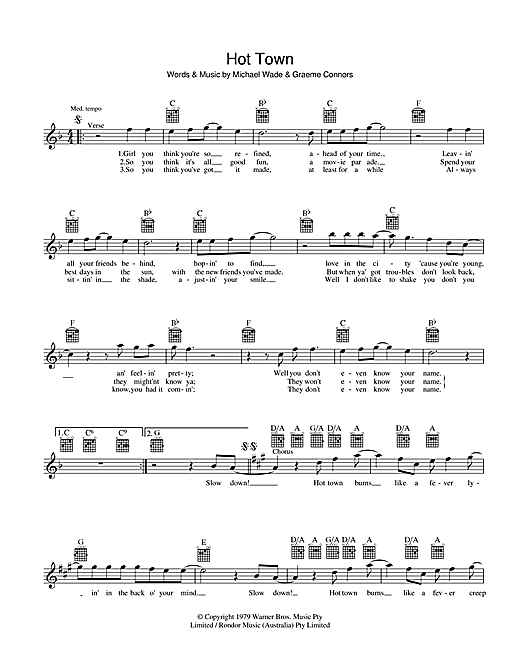 Hot Town Sheet Music