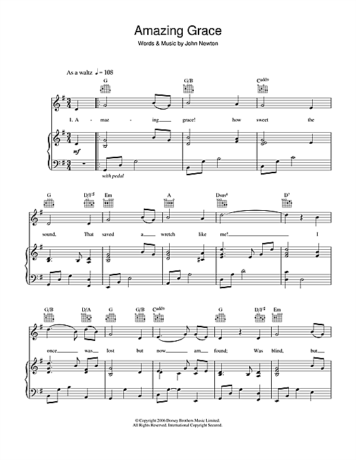 Amazing Grace sheet music by Traditional (Piano, Vocal u0026 Guitar (Right-Hand Melody) u2013 39339)