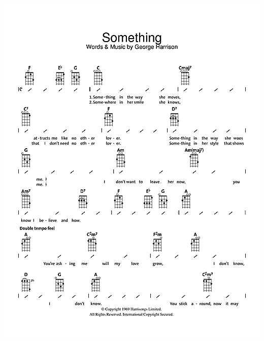 Something sheet music by The Beatles (Ukulele with strumming patterns u2013 39335)