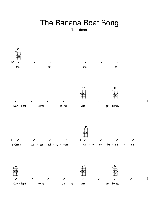 Tablature guitare The Banana Boat Song (Day-O) de Traditional - Ukulele (strumming patterns)