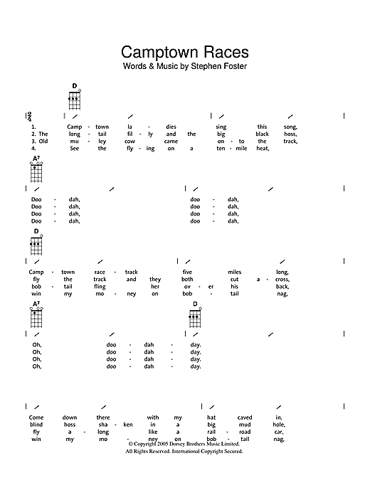 Tablature guitare The Camptown Races de Traditional - Ukulele (strumming patterns)