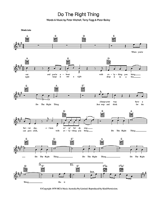 Do The Right Thing Sheet Music