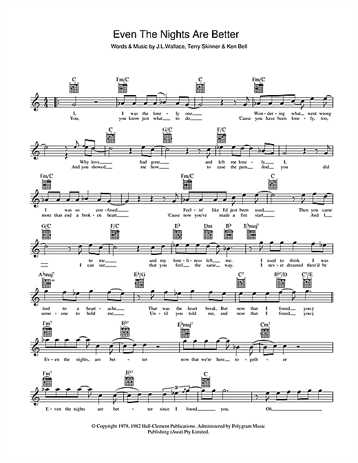 Even The Nights Are Better (Lead Sheet / Fake Book)