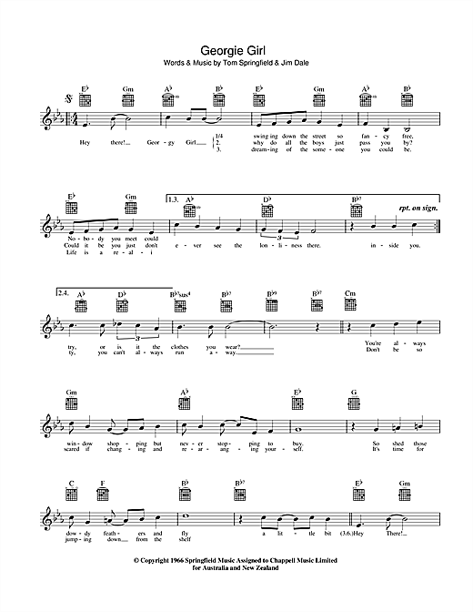 Georgie Girl Sheet Music