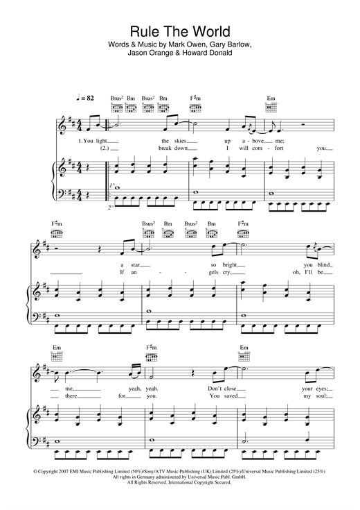 Partition piano Rule The World (from Stardust) de Take That - Piano Voix Guitare