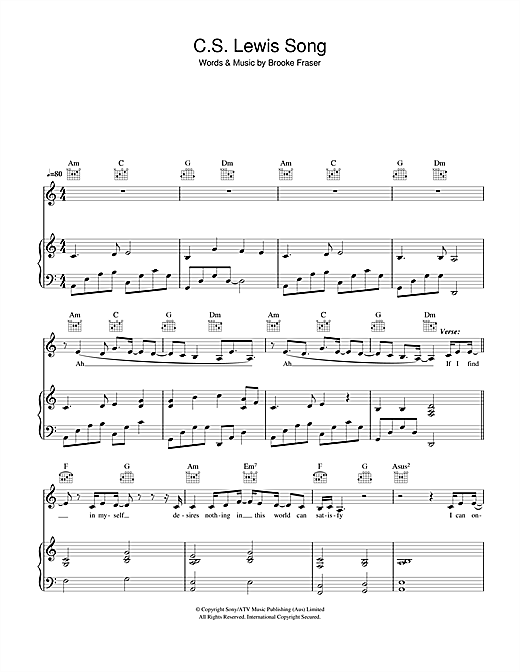 C.S. Lewis Song Sheet Music
