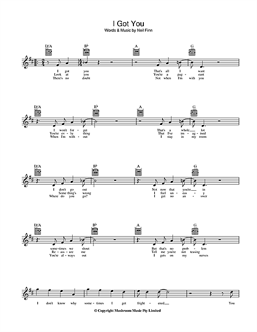 I Got You (Lead Sheet / Fake Book)