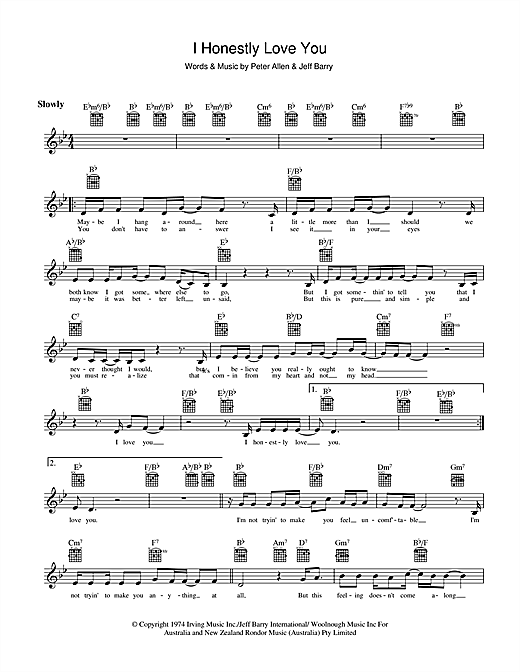 I Honestly Love You (Lead Sheet / Fake Book)