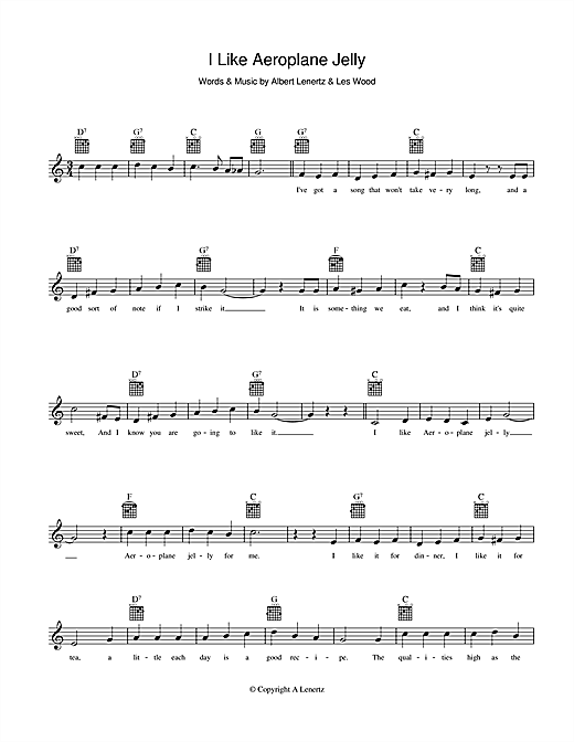 I Like Aeroplane Jelly Sheet Music
