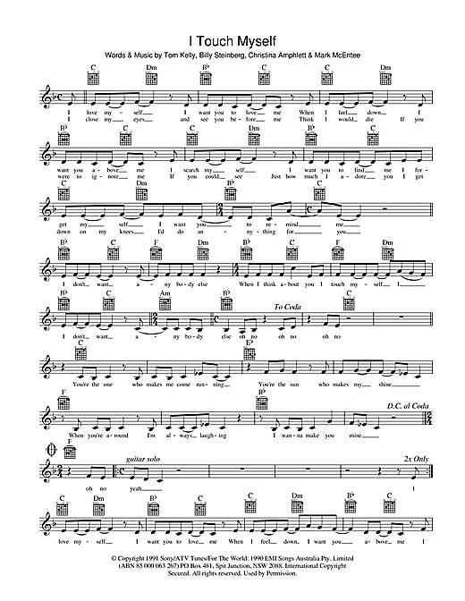 I Touch Myself Sheet Music