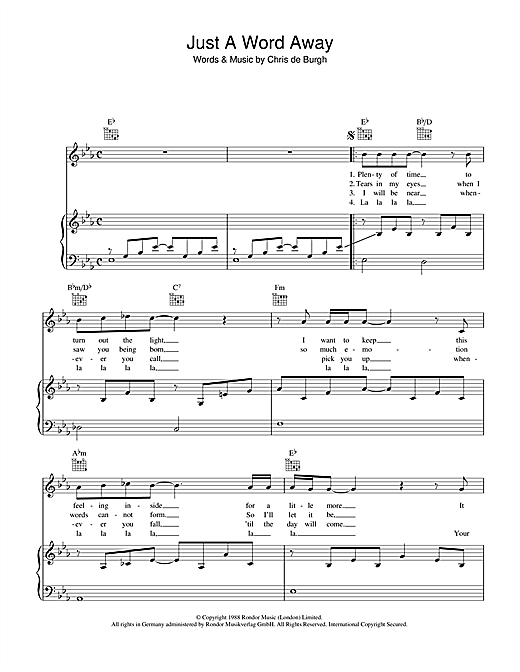 Just A Word Away Sheet Music