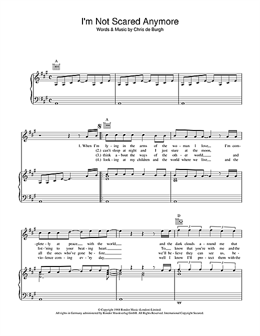 I'm Not Scared Anymore Sheet Music