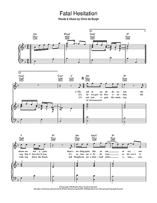 Fatal Hesitation Sheet Music