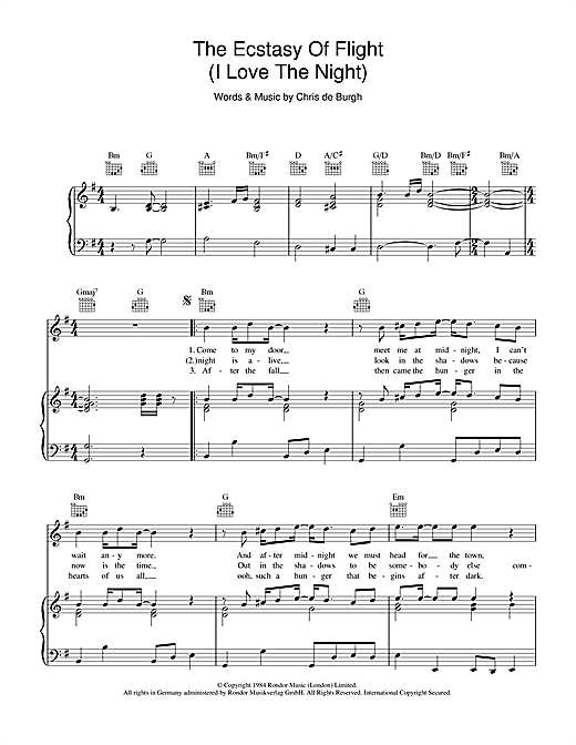 The Ecstasy Of Flight (I Love The Night) Sheet Music