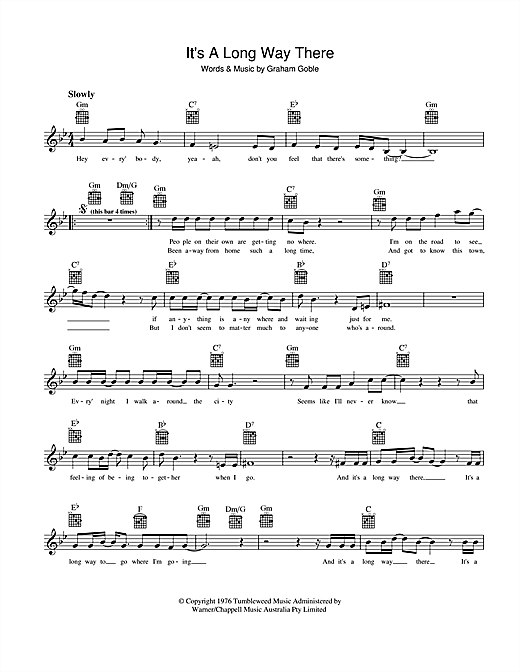 It's A Long Way There Sheet Music