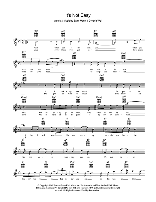 It's Not Easy Sheet Music