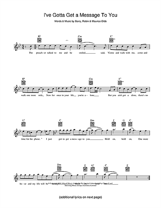 I've Gotta Get A Message To You (Lead Sheet / Fake Book)