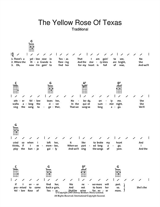 Tablature guitare The Yellow Rose Of Texas de Traditional - Ukulele (strumming patterns)