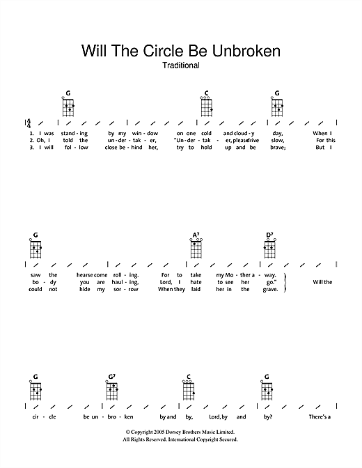 Will The Circle Be Unbroken Sheet Music