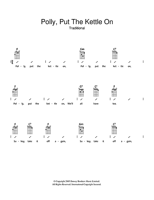 Tablature guitare Polly Put The Kettle On de Traditional - Ukulele (strumming patterns)