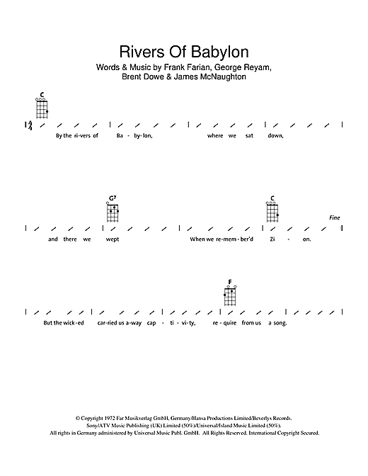 Rivers Of Babylon Sheet Music By Boney M Ukulele With Strumming